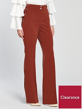 v-by-very-button-detail-slim-flare-trouser-rust