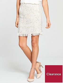 v-by-very-ivory-boucle-skirt