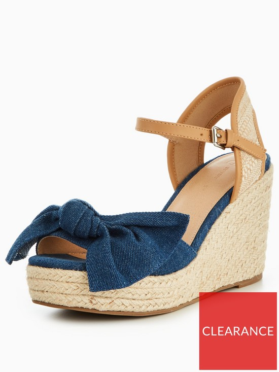 7c1d11d1dc64 V by Very Holly Bow Wedge Sandal Denim