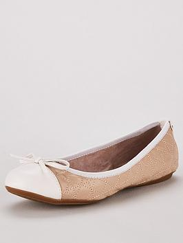 Butterfly Twists Olivia Toe Cap Ballerina Shoe - Nude/White