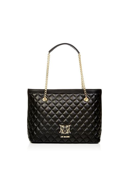 ba1cbb82a4 LOVE MOSCHINO Quilted Logo Shopper Bag - Black