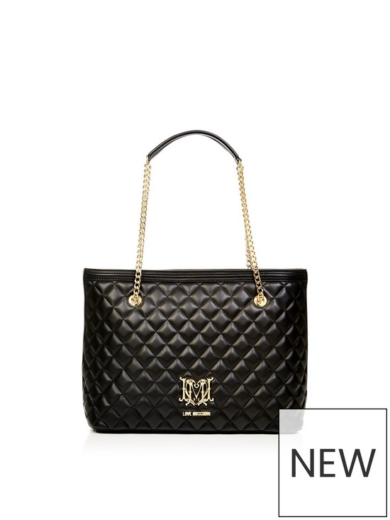 e4c782e6df LOVE MOSCHINO Quilted Logo Shopper Bag - Black   very.co.uk
