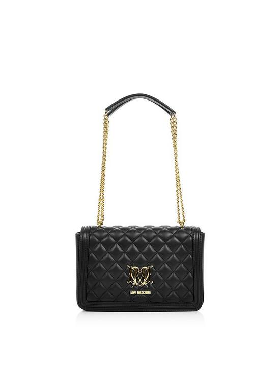 aa316c135b LOVE MOSCHINO Quilted Logo Bag With Chain- Black