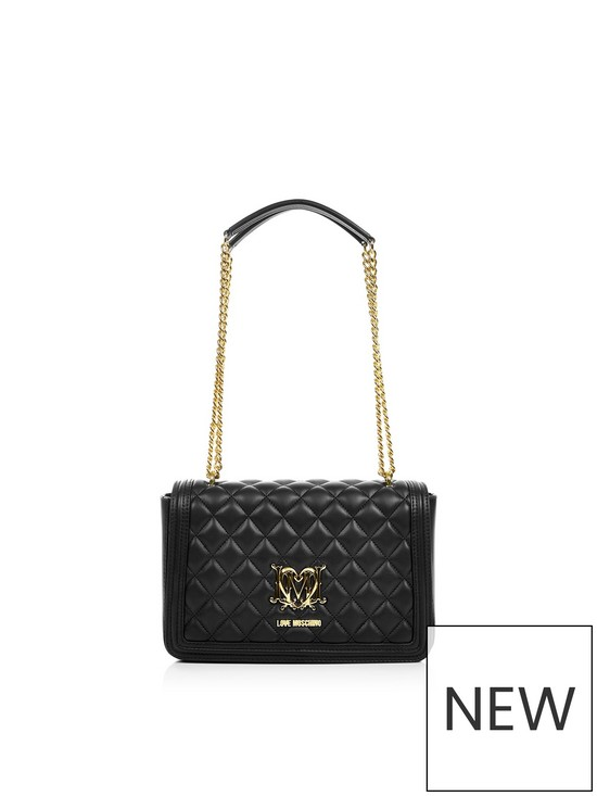 0bdd924094 LOVE MOSCHINO Quilted Logo Bag With Chain- Black | very.co.uk