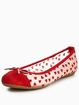 Butterfly Twists Olivia Flocked Hearts Ballerina Pumps - Red