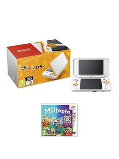 nintendo-2ds-xlnbspconsolenbsporange-and-white-with-miitopia