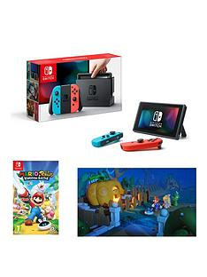 nintendo-switch-neon-red-neon-blue-console-with-mario-nbsprabbids-kingdom-battle