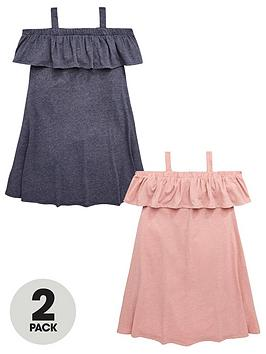 v-by-very-girls-2-pack-cold-shoulder-ruffle-dress