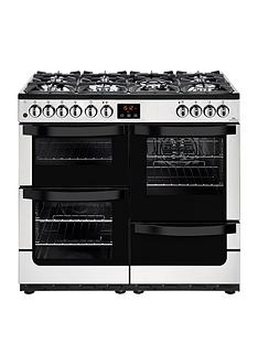 New World Vision 100DFT Dual Fuel 100cm Wide Range Cooker (Stainless Steel) with Connection