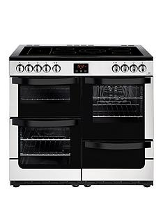New World Vision 100E 100cm Wide Electric Range Cooker (Stainless Steel) with Connection