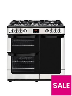new-world-visionnbsp90dftnbspdual-fuel-90cmnbspwide-range-cooker-stainless-steel-with-connection