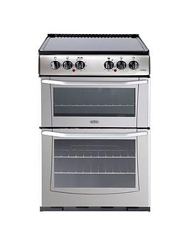 belling-bel-enfield-e552-55cm-electric-ceramic-double-oven-with-connection-silver