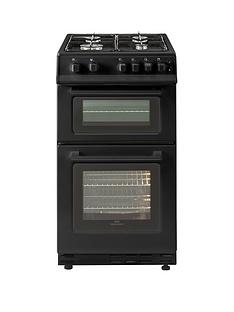 new-world-50gtc-50cm-wide-twin-cavity-gas-cooker-black-with-optional-connection