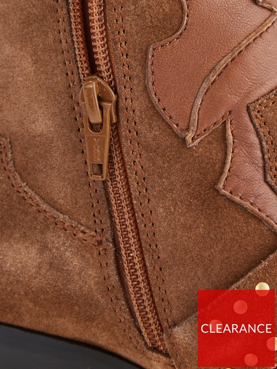 0c14a78755 ... V by Very Tilly Real Suede Studded Western Boot - Tan. View larger