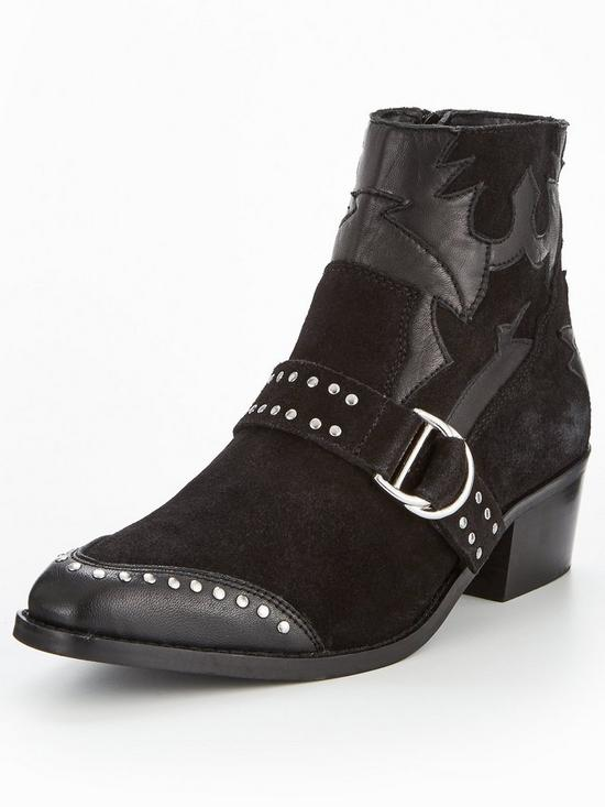 84148da9c0 V by Very Tilly Real Suede Studded Western Boot - Black