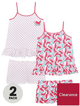 v-by-very-girls-2-pack-watermelon-frill-pj-set