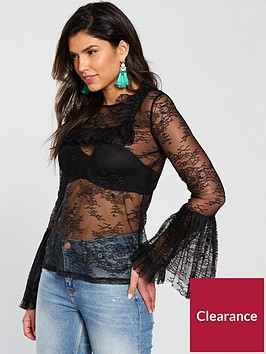 v-by-very-fluted-sleeve-lace-top-black