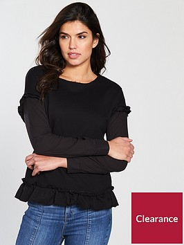 v-by-very-long-sleeve-frill-mix-top-black