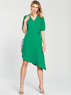v-by-very-asymmetric-hem-wrap-dress-green