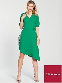 v-by-very-asymmetric-hem-wrap-dress-green