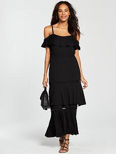 v-by-very-tiered-trim-cold-shoulder-jersey-maxi-dress-black