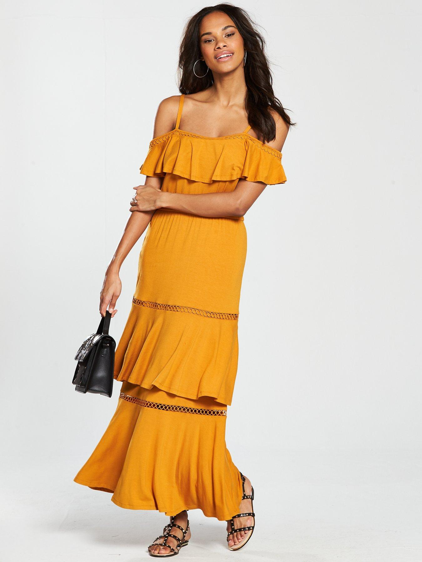 V by Very Tiered Trim Cold Shoulder Jersey Maxi Dress - Mustard
