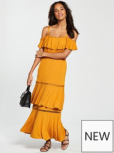 v-by-very-tiered-trim-cold-shoulder-jersey-maxi-dress-mustard