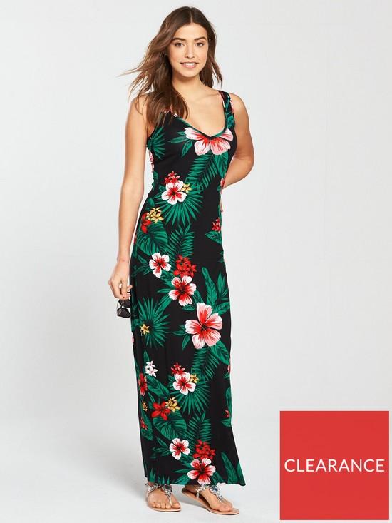 020f3303c8a V by Very Floral V Neck Jersey Maxi Dress
