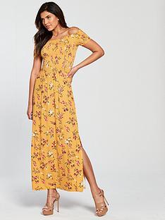 v-by-very-sheered-body-jersey-maxi-dress-mustard-print