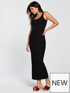 v-by-very-rib-popper-front-maxi-dress