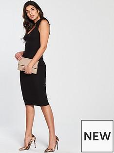 v-by-very-tie-shoulder-rib-midi-dress