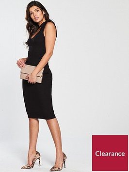 v-by-very-tie-shoulder-rib-midi-dress