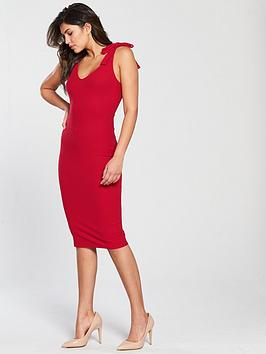 v-by-very-tie-shoulder-rib-midi-dress-red