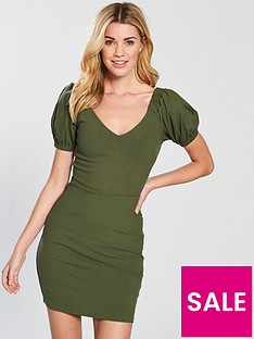 v-by-very-puff-sleeve-rib-bodycon-dress-khakinbsp