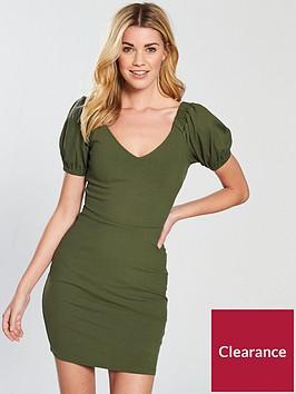 v-by-very-puff-sleeve-rib-bodycon-dress-khakinbsp