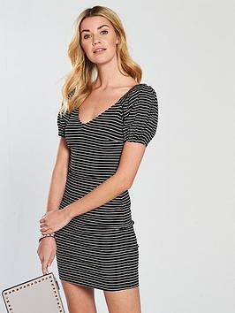 v-by-very-puff-sleeve-rib-bodycon-dress