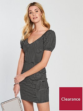 v-by-very-puff-sleeve-rib-bodycon-dress