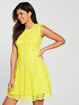 V By Very All Over Lace Ladder Trim Dress - Yellow