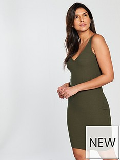 v-by-very-core-rib-bodycon-dress-khakinbsp