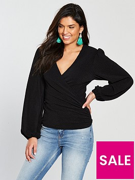 v-by-very-waffle-wrap-long-sleeve-top-black
