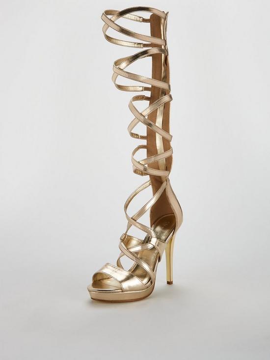 2ab384ef23fe V by Very Goddess High Leg Gladiator Sandal - Gold