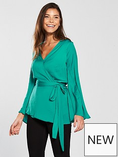 v-by-very-fluted-sleeve-wrap-top-green