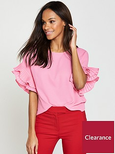 v-by-very-pleated-frill-sleeve-top-candy-pink