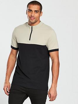 v-by-very-colour-block-zip-neck-polo