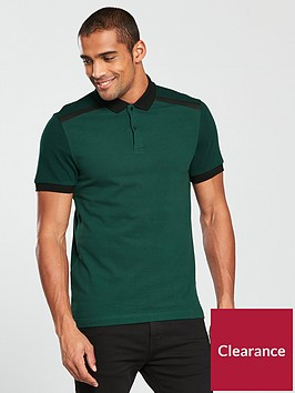 v-by-very-contrast-panel-pique-polo-dark-green