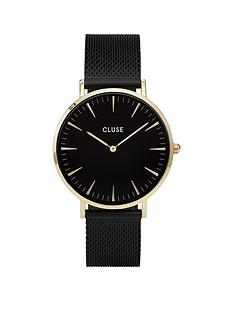 cluse-cluse-la-bohegraveme-mesh-gold-case-with-black-dial-and-black-mesh-strap-ladies-watch