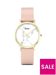 cluse-cluse-la-roche-petite-gold-white-marble-dial-nude-leather-strap-ladies-watch