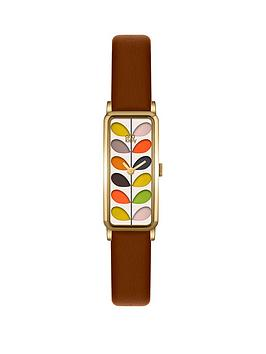 orla-kiely-gold-rectangular-case-with-stem-print-dial-and-brown-leather-strap-ladies-watch