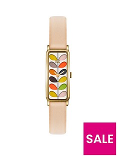 orla-kiely-orla-kiely-stem-bronze-plated-rectangular-case-with-multicolour-stem-print-dial-and-cream-leather-strap-ladies-watch