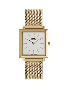 henry-london-gold-heritage-square-ladies-mesh-watch